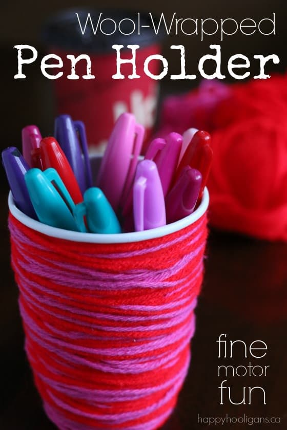 Wool Wrapped Pen Holder - a fun, fine-motor craft for kids to make - Happy Hooligans