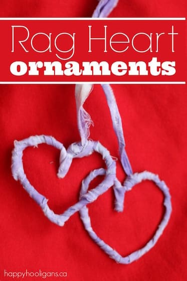 Rag Heart Ornaments with Pipe Cleaners and Fabric Strips