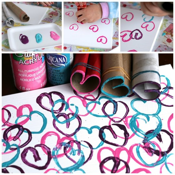 stamping hearts with toilet paper rolls