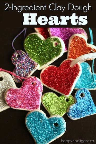Glittered Heart Valentines Ornaments with 2-Ingredient Clay Dough