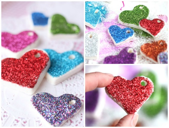 Various coloured Clay dough heart ornaments with glitter
