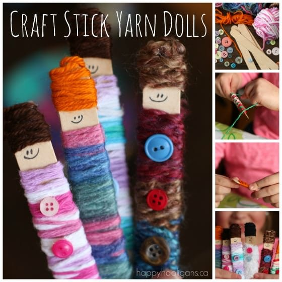 Easy Popsicle Stick Yarn Dolls by Happy Hooligans