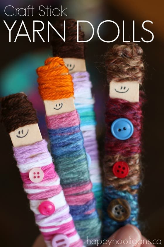 Popsicle Stick Yarn Dolls by Happy Hooligans