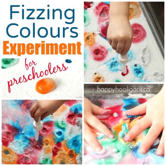Fizzing Colour Experiment with vinegar and baking soda - Happy Hooligans