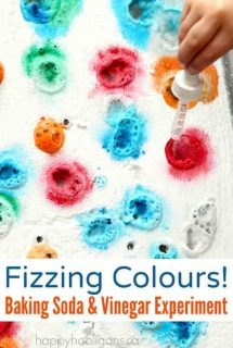 Fizzing Colours - A baking Soda and Vinegar Experiment for toddlers and preschoolers - Happy Hooligans