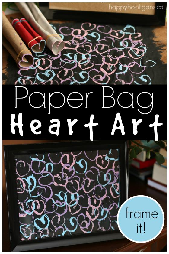 Framed Heart Art on a paper bag canvas! No need to buy a fancy canvas to make your art on! Kids can turn a paper bag into a framed, custom piece of art! - Happy Hooligans