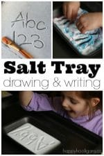 Salt Tray Writing Activity for Preschoolers