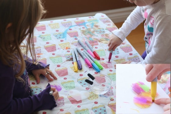 Preschoolers colouring with Sharpies