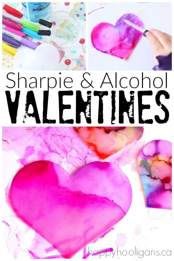 Sharpie and Rubbing Alcohol Valentines Art Activity - Happy Hooligans