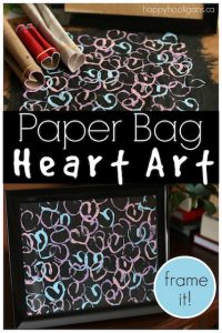 Stamped Heart Art on a paper bag canvas! No need to buy a fancy canvas to make your art on! Kids can turn a paper bag into a framed, custom piece of art! - Happy Hooligans copy