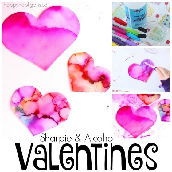Valentines Art Experiment with Sharpies and Alcohol