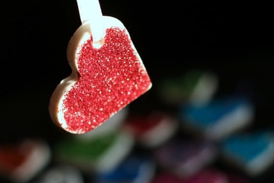 White Clay Dough Heart with Red Glitter, hanging from ribbon