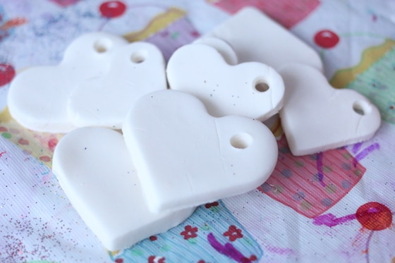 heart ornaments made from white clay dough