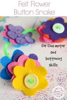 felt flower button snake