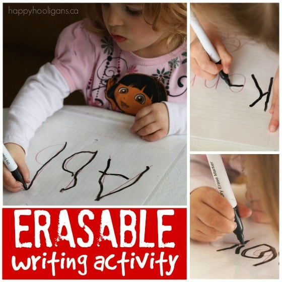 A homemade eraseable printing practice activity for toddlers and preschoolers using dry erase markers
