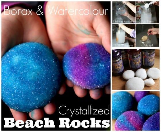 Borax and Watercolour Crystallized Beach Rocks