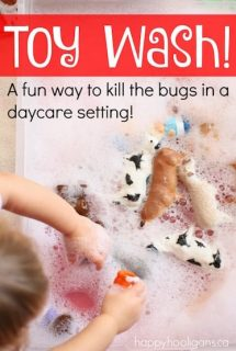 Daycare Toy Wash - washing the toys to kill the germs and bugs in daycare. Great water play activity to sanitize the toys during cold and flu season - Happy Hooligans