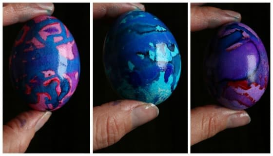 Easter Eggs decorated with liquid watercolours