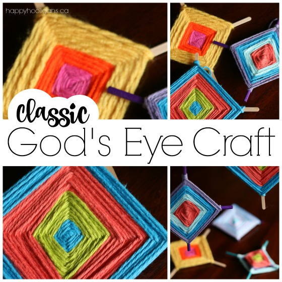 God's Eye Weaving Craft with Sticks and Yarn - a Classic Kids Craft - Happy Hooligans