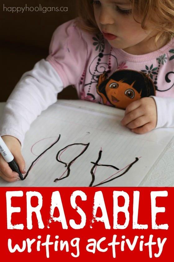 Homemade eraseable writing activity for preschoolers - Happy Hooligans