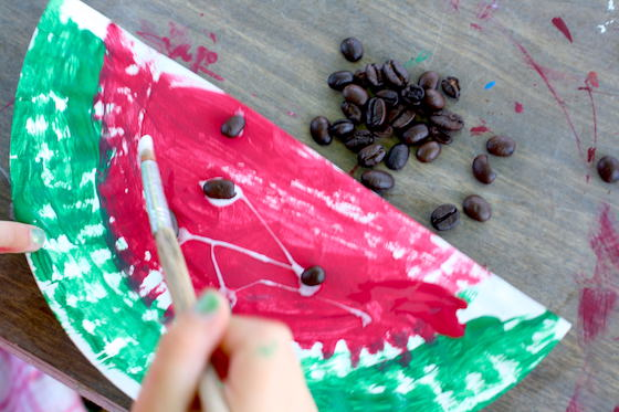 coffee bean seeds on a paper plate watermelon