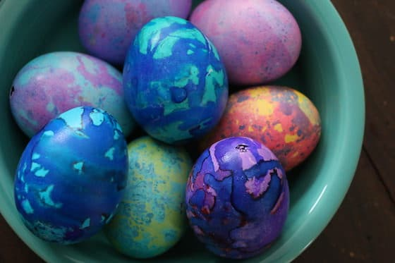 bowl of hand-dyed easter eggs