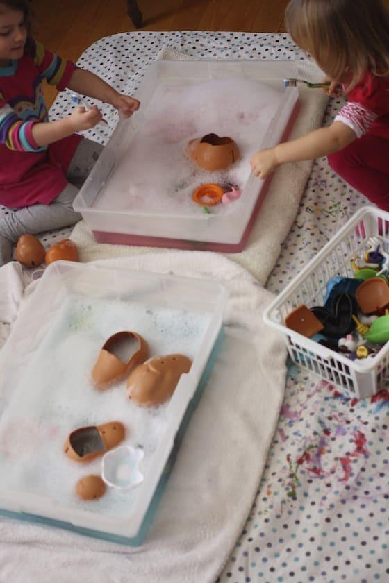 indoor toy wash activity for daycare children