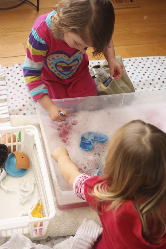 Toy wash station in daycare