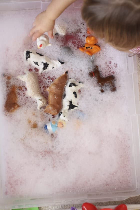 Toys being cleaned in soapy water