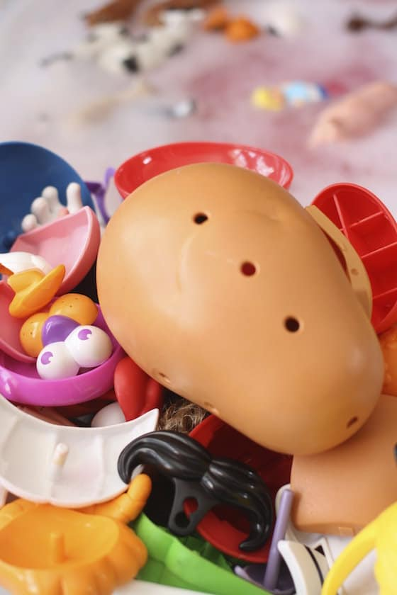 Mr Potato Head and Farm animals being washed by kids