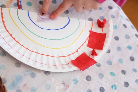 making a paper plate and tissue paper rainbow