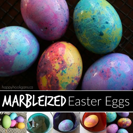 How to Marbleize Easter Eggs with Oil, Vinegar and Food Colouring
