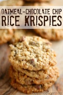 Oatmeal Chocolate-Chip Rice Krispie Cookies by Happy Hooligans