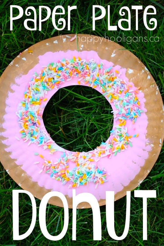 Paper plate donut craft for kids happy hooligans for Food crafts for preschoolers