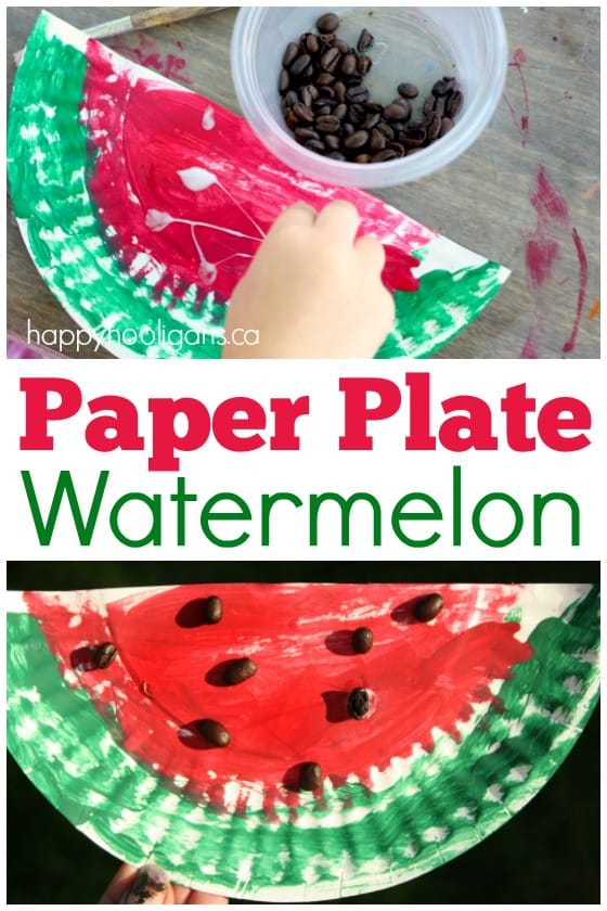 Paper Plate Watermelon Craft for Preschool