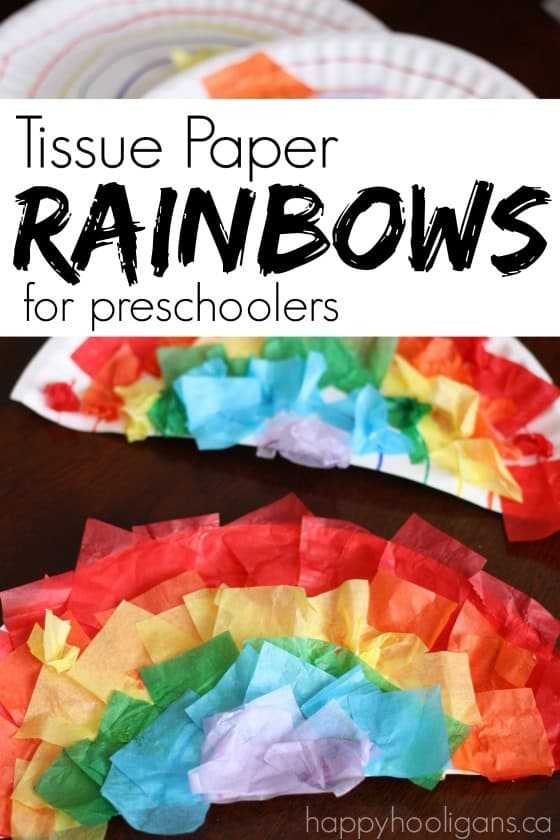 Tissue Paper and Paper Plate Rainbows for Preschoolers - great fine motor craft for St. Patrick's Day - Happy Hooligans