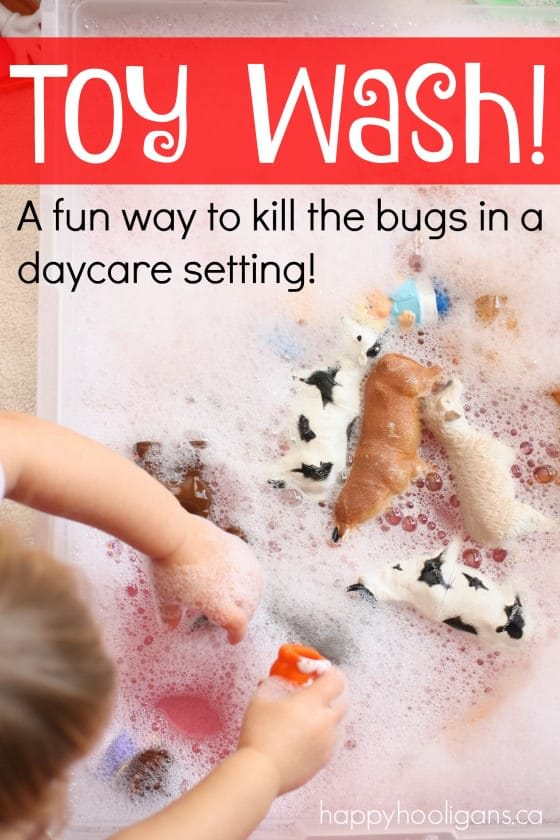 Toy Wash - washing the toys to kill the germs and bugs in daycare. Great water play activity that keeps the kids entertained for ages - Happy Hooligans