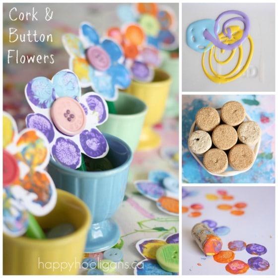 cork stamped flowers