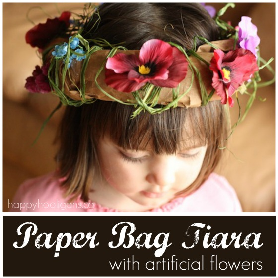 paper bag tiara with artificial flowers