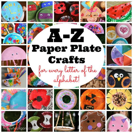 A collection of A-Z Paper Plate Crafts by Happy Hooligans