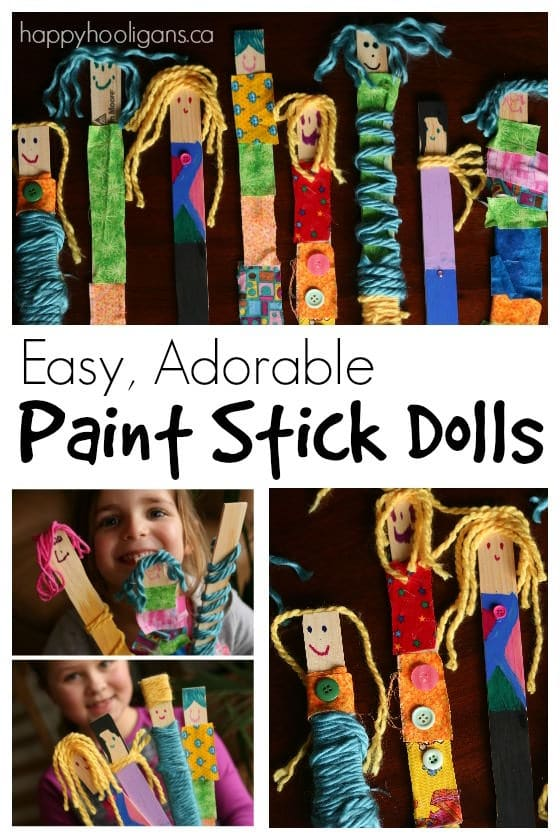 The Birthday Party Project >> Adorable Paint Stick Dolls with Fabric and Yarn - Happy Hooligans