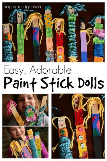 adorable paint stick dolls with fabric and yarn