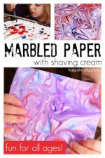 DIY Marbled Paper with Shaving Cream and Food Colour