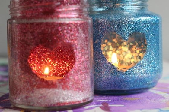 tea light glittery luminary