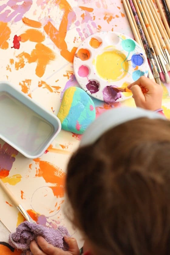 Finger-Painted Paper Weights for Kids to Make
