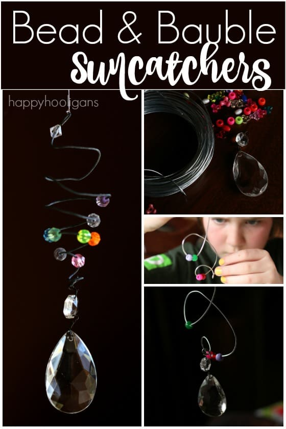 Easy Kid-Made Bead and Bauble Sun Catcher Ornaments - Happy Hooligans