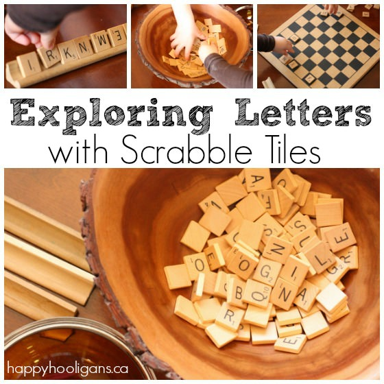 Learning about letters with Scrabble Tiles
