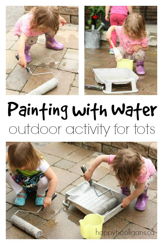 Painting with Water - an outdoor activity for toddlers and preschoolers
