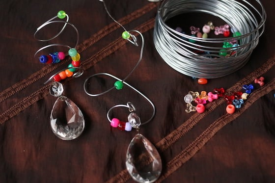 beads and chandelier baubles threaded onto thin guaged wire