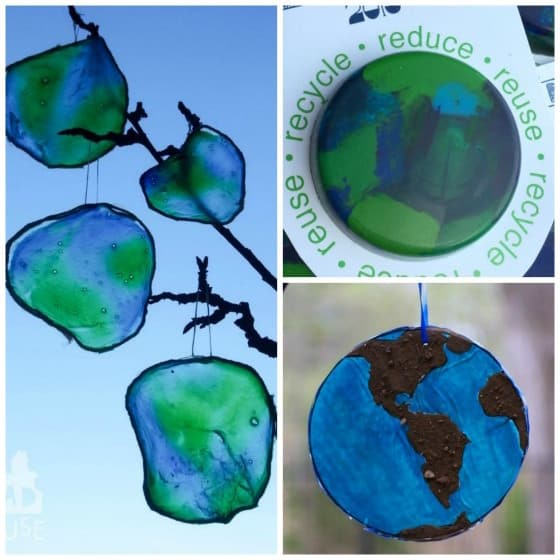 earth day sun catchers and earth day crayons